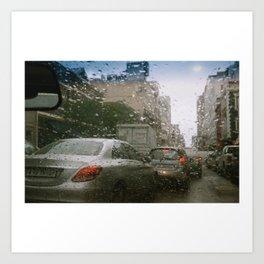 Cape Town traffic on a rainy day Art Print