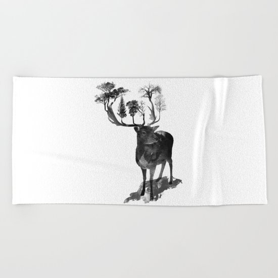 The Black Forrest Deer Beach Towel