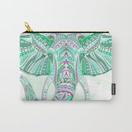 Sea Green Ethnic Elephant Carry-All Pouch