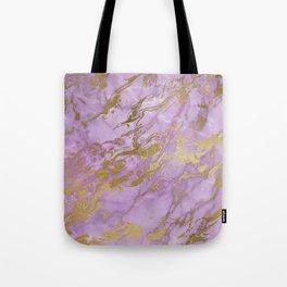 Lavender Gold Marble Tote Bag