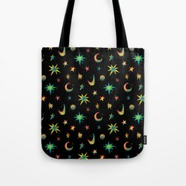 Colorful Watercolor Stars and Moons Pattern Tote Bag