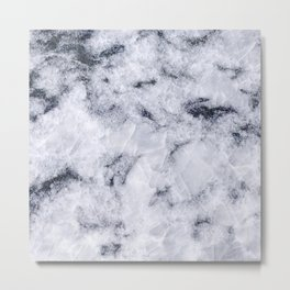Crystal White Marble Metal Print