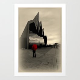 Lady with Red Umbrella at Riverside Museum Art Print