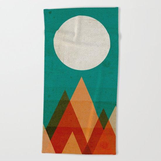 Full moon over Sahara desert Beach Towel