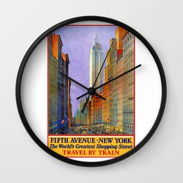 New York, vintage poster Wall Clock