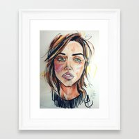 khaleesi Framed Art Prints featuring Emilia Clarke by artistathenawhite