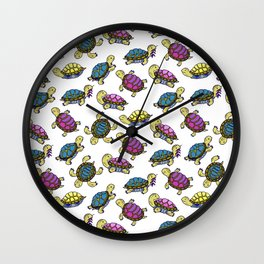 Colorful small turtles Wall Clock