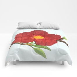 Bright Red Plumb Blossom Comforters
