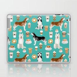 Husky siberian huskies coffee cute dog art drinks latte dogs pet portrait pattern Laptop & iPad Skin