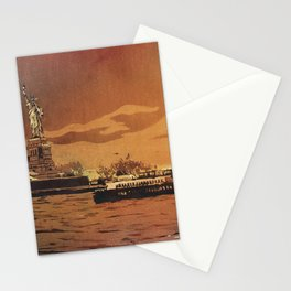Statue of Liberty on Liberty Island at sunset- New York City, New York.  Watercolor painting Stationery Cards