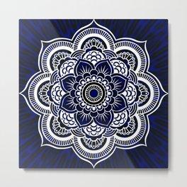 Deep Blue Mandala Portal Metal Print