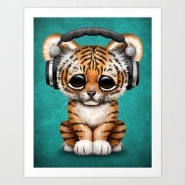 Cute Tiger Cub Dj Wearing Headphones on Blue Art Print
