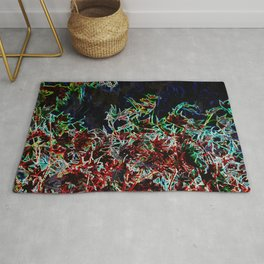 MODERN ABSTRACT FALL LEAVES GLOWING PENCIL DRAWING Rug