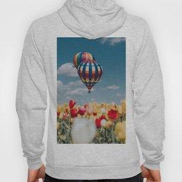 air balloon, aerostat, tulips, field, sky Hoody