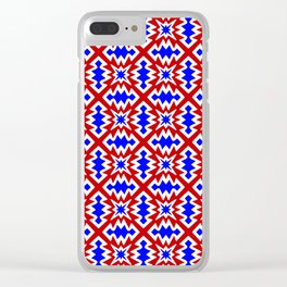 Red White and Blue Firecracker Festive Fireworks Stylized Country Decor Southwestern Design Pattern Clear iPhone Case