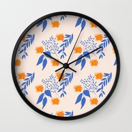 Floral Pattern Indigo Orange Blue Wall Clock