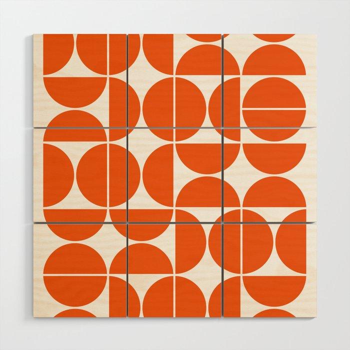 Mid Century Modern Geometric 04 Orange Wood Wall Art By
