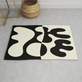 Mid Century Modern Organic Abstraction 235 Black and Linen Rug