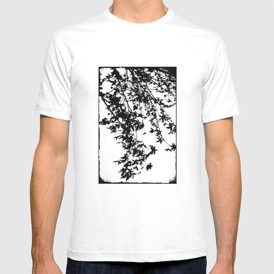 black on white T-shirt