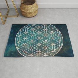 Mandala Flower of Life Rose Gold Space Stars Rug