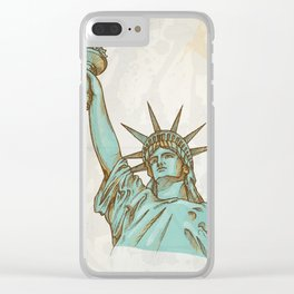 statue of liberty hand dawn Clear iPhone Case