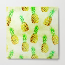 Vintage chic green yellow pinapple pattern Metal Print