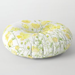 yellow buttercup flowers filed watercolor  Floor Pillow