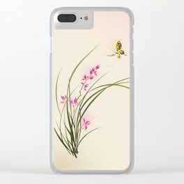 Oriental style painting - orchid flowers and butterfly 004 Clear iPhone Case