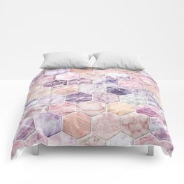 Rose Quartz and Amethyst Stone and Marble Hexagon Tiles Comforters