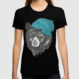 bear in blue T-shirt