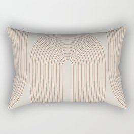 Geometric Curves in Beige and Brown No. 1 Rectangular Pillow