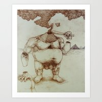 dick Art Prints featuring Pyramid Dick by Killer Napkins