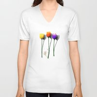 tulip V-neck T-shirts featuring Tulip by Det Tidkun