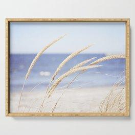 Beach Grass Blue Photography, Coastal Ocean Landscape, Sea Seashore Seascape Shore Serving Tray