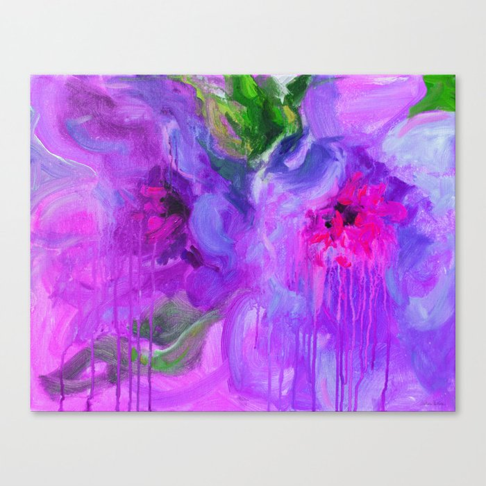 Abstract Purple Peonies Flowers Painting Svetlana Novikova Canvas