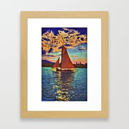 Sunset Sailing Framed Art Print