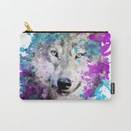 Watercolor wolf wolves head bold artistic painting blue purple violet cyan Carry-All Pouch