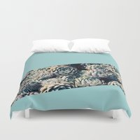 succulents Duvet Covers featuring Succulents by Leah Flores