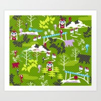 hiking Art Prints featuring Hiking by misslin