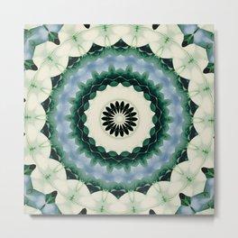 White Flower and Cerulean Blue Mandala Metal Print