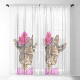 Giraffe funny animal illustration Sheer Curtain
