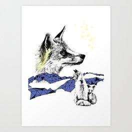Fox & Cub, Blue & Yellow Art Print