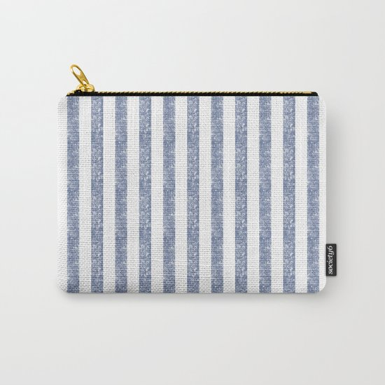 Maritime Beach Pattern- Blue and White Stripes- Vertical - Carry-All Pouch