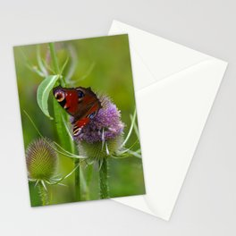 Peacock Butterfly on a Teasel Flower 3 Stationery Cards