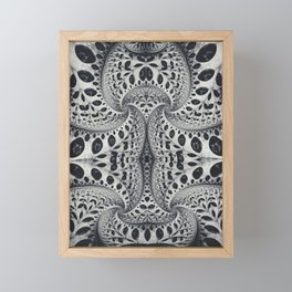 Wild Fiber III. Black and White Abstract Art Framed Mini Art Print