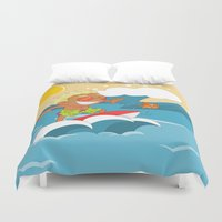 sports Duvet Covers featuring Non Olympic Sports: Surfing by Alapapaju