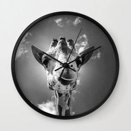 Cool Giraffe Black and White Wall Clock