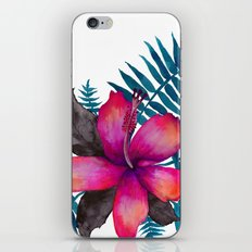 Pink Hibiscus Flower - WHITE iPhone & iPod Skin