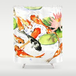 Koi Fish Pond, Feng Shui 9 koi fish art Shower Curtain