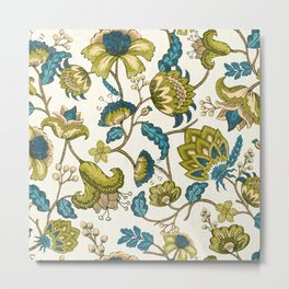 Green and Blue Indian Floral Metal Print
